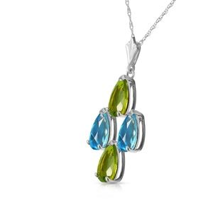 NECKLACE WITH NATURAL BLUE TOPAZ & PERIDOTS